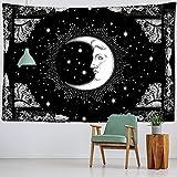 Sol y luna tapiz de mandala en blanco y negro tapiz psicodélico...