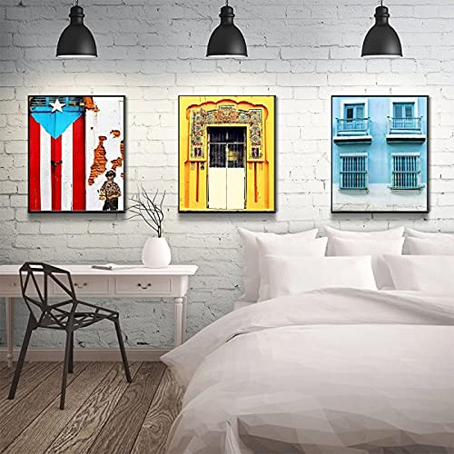 Travel Photography Poster and Print San Juan Puerto Rico Yellow Canvas Painting Landscape Wall Art Pictures For Home Decoration-(50X70CM)X3 No Frame