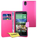 FoneExpert® Wallet Hülle Flip Cover Hüllen Etui Ledertasche Lederhülle Premium Schutzhülle für HTC Desire 816 + Bildschirmschutzfolie (Rosa)