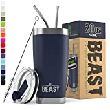 BEAST 20oz Navy Blue Tumbler - Stainless Steel Vacuum Insulated Coffee Ice Cup Double Wall Travel Flask