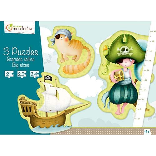 Avenue Mandarine 42433MD - Une boite de 3 puzzles géants (21, 23 et 24 pièces), Pirates