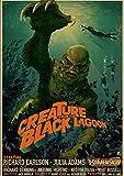 Kemeinuo Cuadros Modernos Criatura de la película de Terror del Cartel de la Laguna Negra Pintura casera para el Bar de la casa de café 60x90cm