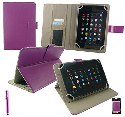 Emartbuy® Lila Eingabestift + Universalbereich Plum Multi Winkel Folio Executive Hülle Cover Wallet Hülle Schutzhülle mit Kartensteckplätze Geeignet für Odys Junior Tab 8 Pro 8