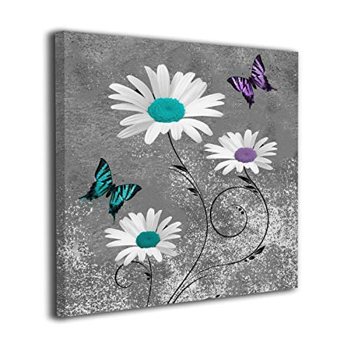 Colla Canvas Print Wall Art Teal Purple Daisy Flower Butterflies Decorative Paintings Modern Home Wall Decor for Bedroom Living Room Bathroom Framed Ready to Hang 20x20 Inches