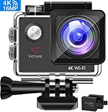 Victure Action Camera 4K WiFi 16MP 98Feet Waterproof Underwater Camera 170°Wide-Angle 2 Inch Screen Sports Cam with 2 Rechargeable 1050mAh Batteries and Mounting Accessories
