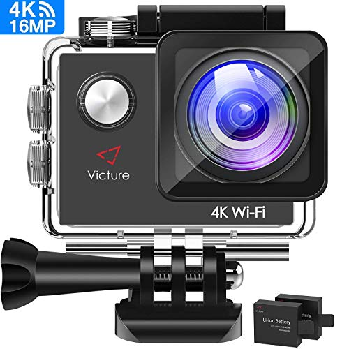 Victure AC600 4K WiFi Action Camera, 16MP Underwater Waterproof Camera, 170° Wide Angle WiFi Sports Video Camera with 2 Batteries and Mounting Accessories Kit