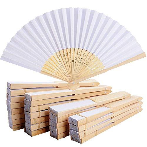 50 abanicos de mano de papel blanco de bambú plegable abanico de...