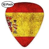 Púas de guitarra premium, pianos de guitarra de forma 351, guitarrista (selección de guitarra con bandera de España vintage, paquete de 12)