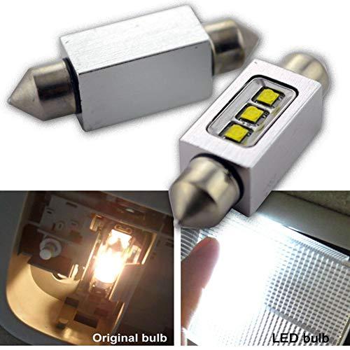 Ruiandsion Lot de 2 ampoules navettes LED Canbus 41 mm 12 V CREE 3SMD 15 W pour intérieur de voiture, liseuse, plafonnier, blanc