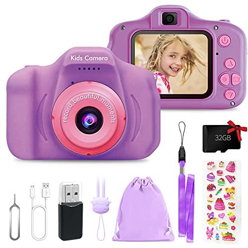 Fotocamera Digitale per Bambini Giocattoli, 2 Pollici Schermo HD Videocamera 1080P, Fotocamera per...