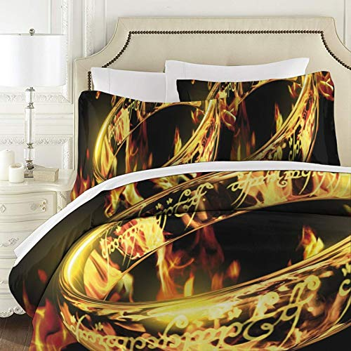 Le Seigneur des Anneaux - Couvre-lit matelassé - Patchwork - Housse de lit super king size - 3 pièces - 100 % coton - Avec taies d'oreiller - Couvre-lit réversible