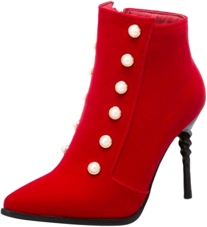 FizaiZifai Women Fashion High Heel Low Boots Zip