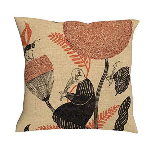 TengmiuXin - Funda de cojín con Cremallera Oculta para el hogar, el sofá, Estilo Variado, diseño de Plantas, Insectos, Multicolor, Lino, Blanco, 45 x 45 cm