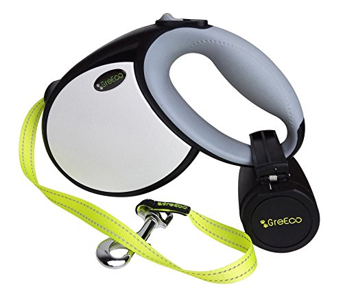 GreEco Retractable Dog Leash, Belt Leash, Ergonomic Handle, 13-16 Ft for Small, Middle & Large Dog, Lucifer Yellow Leash, Innovative Reflective Silver Perimeter Leash (16FT / L, Black x White)