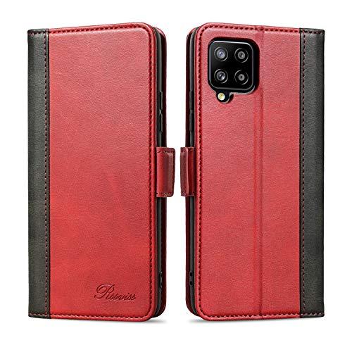 Rssviss Handyhülle für Samsung Galaxy A42 5G Hülle, Galaxy A42 5G PU Ledertasche 4 Kartenfächer mit Magnetverschluss Standfunktion Klapphülle für Samsung A42 5G Schutzhülle 6,6 Zoll Rot