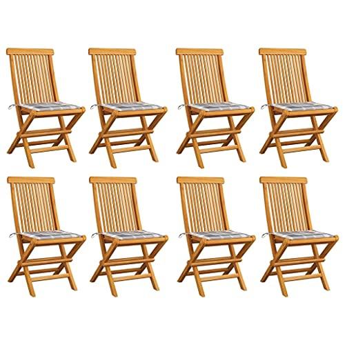 vidaXL 8X Teca Maciza Sillas de Jardín y Cojines Sillón Exterior Balcón Terraza Patio Asiento Butaca Muebles Mobiliario Duradera a Cuadros Grises