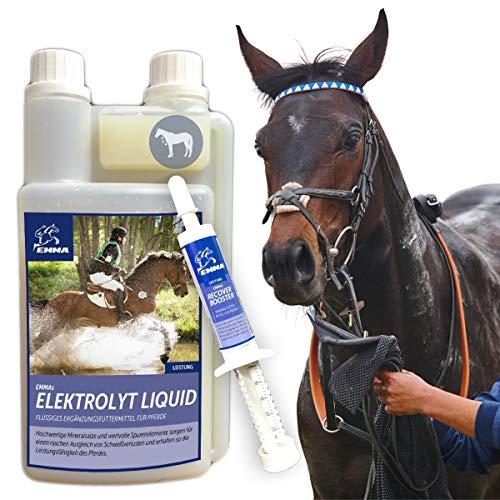 EMMA ⭐ Electrolitos para Caballo líquido I SPARSET I compensación, pérdidas de minerales, después de diarrea I Plus 1 Elektrolyt Booster I Falta de electrolitos en el Caballo Deportivo I 1L + 30 ml