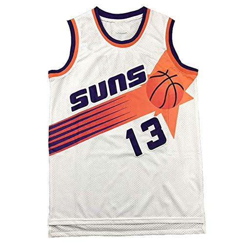 QQA # 13 Steve Nash Basketball Trikot Phoenix Suns Jahrgang Gittergewebe Sweatshirt Unisex Ärmellos Sportweste Sport Top,Weiß,S