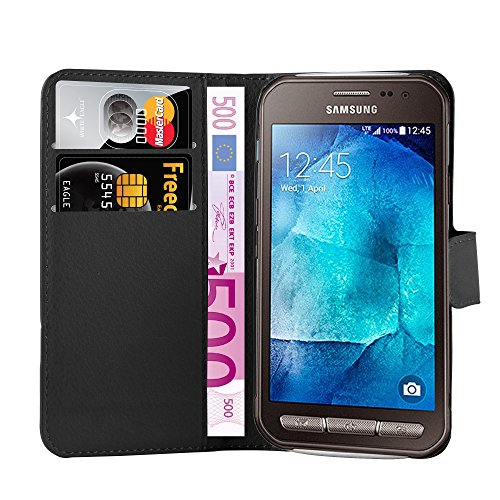 Cadorabo Hülle für Samsung Galaxy XCover 3 in Phantom SCHWARZ - Handyhülle mit Magnetverschluss, Standfunktion & Kartenfach - Hülle Cover Schutzhülle Etui Tasche Book Klapp Style