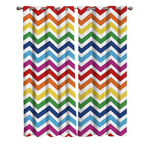 "T&H Home Rainbow Chevron Curtains, Zig Zag Pattern Window Curtain, 2 Panel Curtains for Sliding Glass Door Bedroom Living Room, 54"" W by 39"" L"