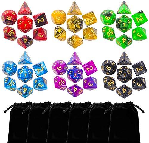 iFergoo Polyedrische Würfel, 6 x 7 (42 Stück) Doppel-Farben Tisch Spiel Würfel für Pathfinder DND RPG MTG, 6 Set von d20, d12, 2 d10, d8, d6 und d4