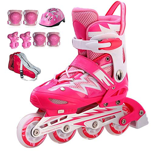 Niños Ajustable Patines en Línea de Fibra Carbono una Hilera Zapatos de Patinaje de Velocidad para Principiantes Deportes para Niño y Niña Patines de Ruedas,Rosado,34 to 37