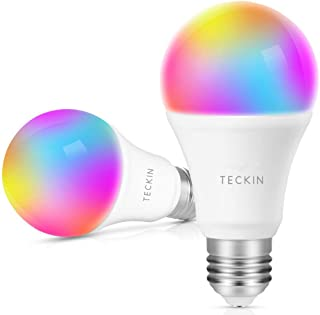Smart Light Bulb with Soft White Light 2800k-6200k + RGBW, TECKIN A19 E26 WiFi Multicolor LED Bulb Compatible with Phone, Google Home, 7.5w (60w Equivalent),2 Pack
