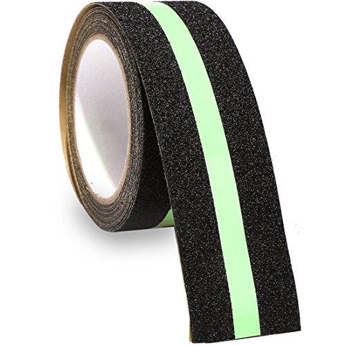 rutschfeste Grip Tape Glow in Dark - TooTaci Sicherheit Tape verbessert Grip und rutschfeste Sicherheit Stufenmatte Treppenstufe - Indoor 5,1 cm X 16.4 ft Schwarz