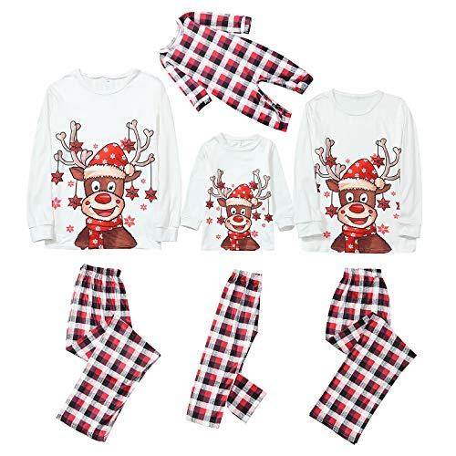 HEWUQI Oh Deer - Matching Family Christmas Pajamas Sets for Women Men Boys Girls Plaid Parent-Child Sleepwear for Kids & Adult