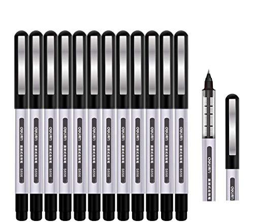 Tintenroller Stifte schwarz, Surcotto 0,5mm Gelschreiber, glatter Kugelschreiber, schnelltrocknend, flüssige Tinte, dokumentenecht, geeignet für Rechts- und Linkshänder, Schreibset – 12 Stück