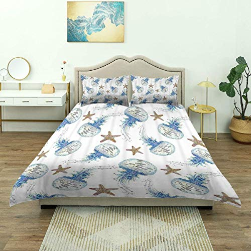 Nonun Duvet Cover,Watercolor Sea Animals Life Jellyfish and Starfish Pattern, Microfiber Bedding Set,Comfy Lightweight (3pcs Quilt Cover)