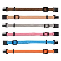 Helps tell puppies apart Set includes a brown, beige, silver-grey, pink, light blue, and orange collar Gets puppies used to a collar Fully adjustable; made from nylon Size M-L 22-35 cm/10 mm