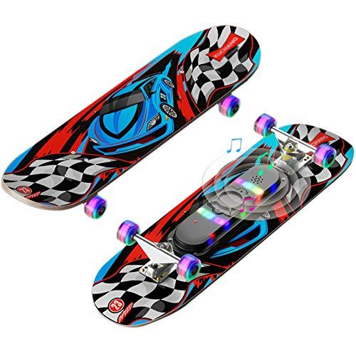 OLAC Skateboard 28'x 7' Music Glow Complete Flash Wheel Skate Board Longboards De Madera De Arce para Adolescentes, Principiantes, Niñas, Niños, Niños