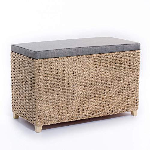 Büloo Bettbank Schlafzimmerbank Flurbank Schuhbank Sitzbank mit Aufbewahrung AufbewahrungshockerFaltbarer Aufbewahrungsbox aus natürlicher Wasserhyazinthe,mit Füße (80x40x52cm Grau)