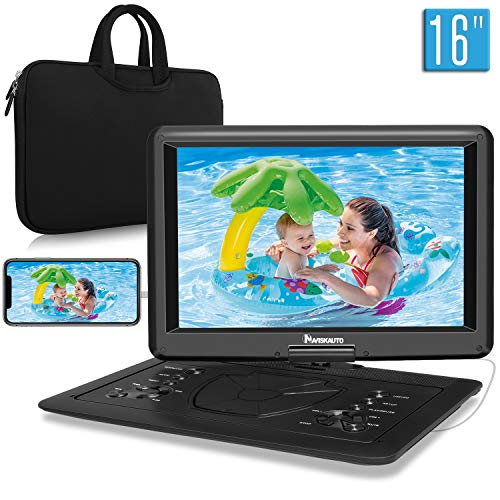 "NAVISKAUTO 16"" Portable DVD Player with Large Screen Free Carry Bag Rechargeable Battery Support HDMI Input, 1080P Video, Sync Screen, Last Memory, AV in & Out, Region Free, USB TF Card"