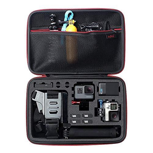 HSU Schutztasche Tragetasche (Große) - Neuer Tasche Case für GoPro Hero 8 2018/7/6/5/4/3+ und Zubehör, mit Tragegriff und Karabiner Loop