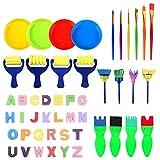 POHOVE - Juego de brochas de pintura para niños, 48 unidades, para aprender acuarelas para CHIld Escuela Hogar multifunción Herramientas de dibujo Graffiti Práctica DIY suministros de arte