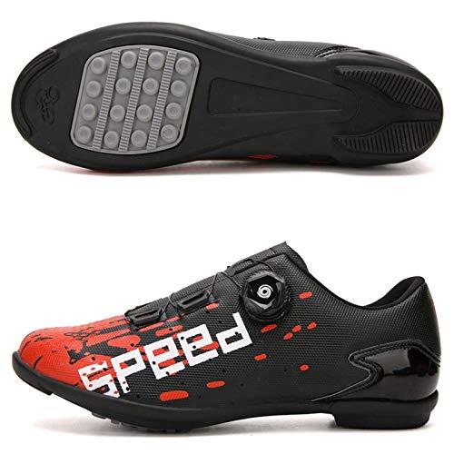 Zapatillas de Ciclismo - Zapatillas de Bicicleta de Carretera MTB Transpirables para Interiores con Alfombrilla Antideslizante sin Bloqueo Adecuado para Ciclismo al Aire Libre