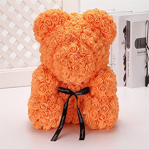 LOUQINGDZ Flores artificiales calientes de San Valentín etiqueta regalos 25 cm 40 cm rojo oso de rosas flores artificiales decoración Navidad mujeres decoración del hogar accesorios