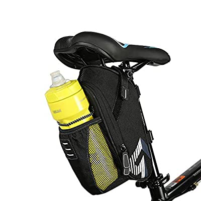 Allnice Bike Saddle Bag, 1.6L Mountain Road MTB Bicycle Cycling Polyester Saddle Bag with Pocket for Water Bottle, Bike Under Seat Rear Bag Repair Tools Pocket Pack Riding Cycling Supplies (Polyester)
