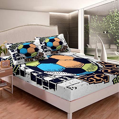 Loussiesd Juego de sábanas con estampado de fútbol para niños, adolescentes, juegos de fútbol competitivos, juego de cama con patrón de pelota de fútbol, funda de cama para dormitorio, 2 unidades