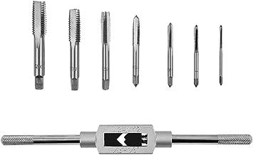 Rocaris 8pcs 3F Thread Metric Machine Hand Screw Thread Plug Taps Set M3 M4 M5 M6 M8 M10 M12 with Adjustable Tap Wrench 1/16-1/2''