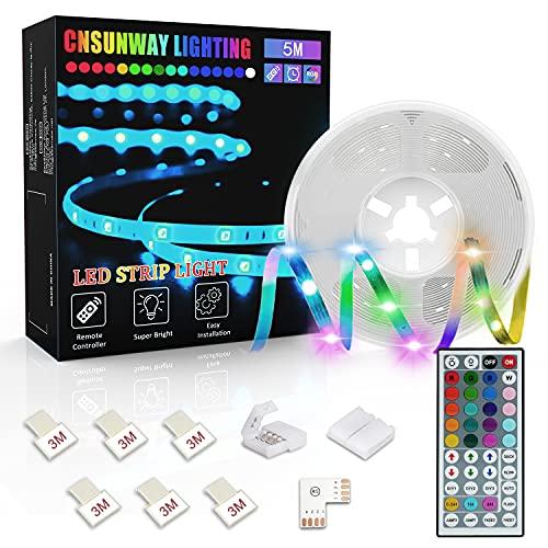 Tiras LED 5M, CNSUNWAY Luces LED RGB 5050 con Control Remoto de 44 Botones, Tira LED 20 Colores 8 Modos de Brillo y 6 opciones DIY para la Habitación, Dormitorio, Techo