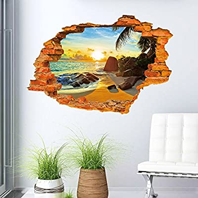 Aibote 3D Wall Decal Mural Home Window Ceiling Decor Removable Stickers Decorations Wallpaper For Boys Girls Room Kids Bedroom Floor Walls Living Room