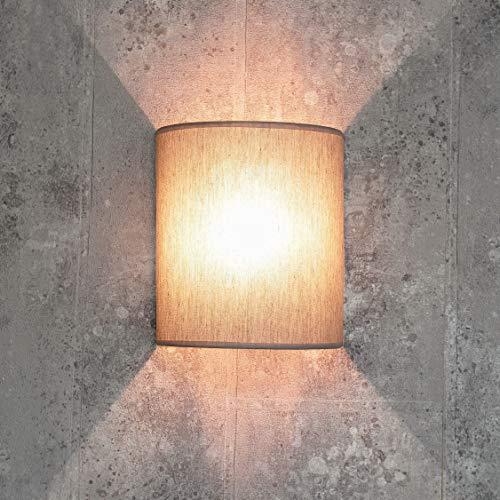 Loft Wandlampe Stoff Schirm halbrund E27 in Grau Design Wandlampe Wohnzimmer Flur Schlafzimmer
