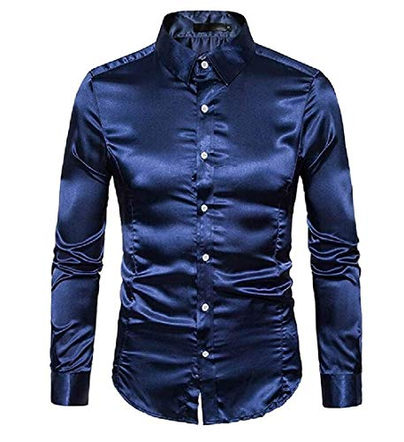 Mannen Shiny shirt met lange mouwen Button Down Satin Slim Fit Dress shirt