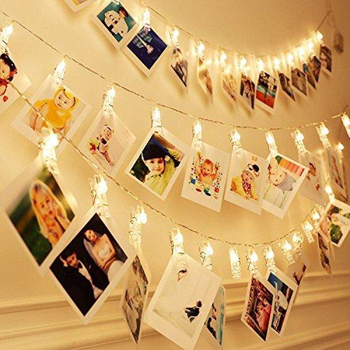 Vivibel LED Fotoclips Lichterkette für Zimmer deko Clip Bilder Lichterketten Bilderrahmen Dekoration für Wohnzimmer innen Haus Hochzeit Schlafzimmer