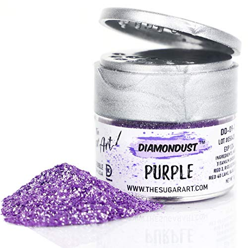 The Sugar Art - DiamonDust - Edible Glitter For Decorating Cakes, Cupcakes, Cake Pops, & More - Sprinkle on Sparkle and Luster to Sweets - Kosher, Food-Grade Coloring - Purple - 3 grams