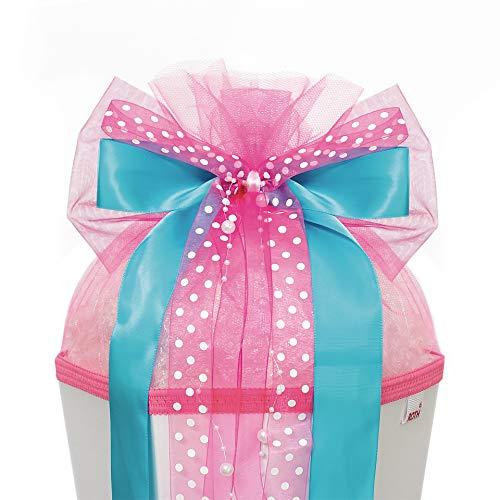 ROTH Schultütenschleife Pink Dots - fertig gebunden ca. 50 x 23 cm - Schulanfang-Schleife