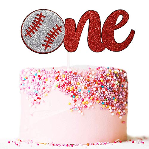 Artczlay baseball themed happy birthday cake topper red glitter cake topper boy and girl first birthday party cake decoration (one)